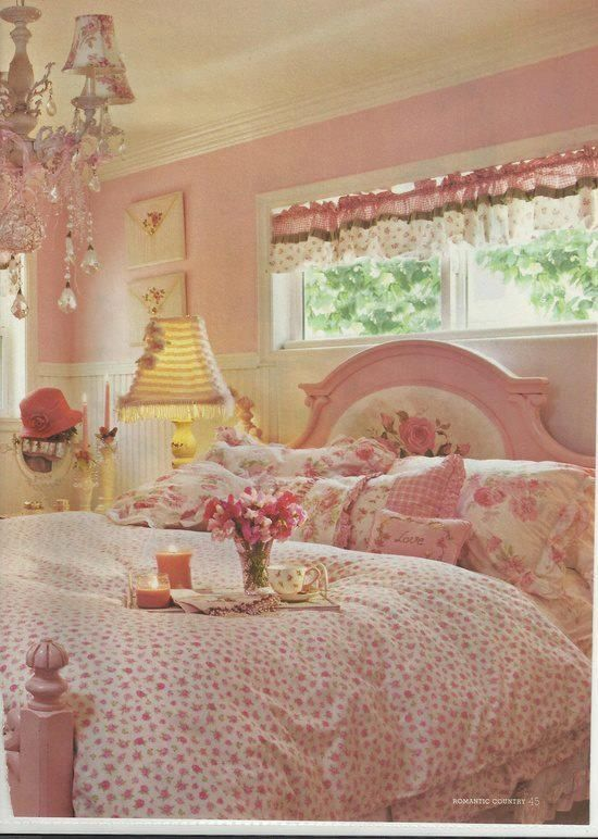 Perfect, pink, cottage bedroom! Hey this is actually mine!!!! Doesn't look quite the same now, but still pink!!!