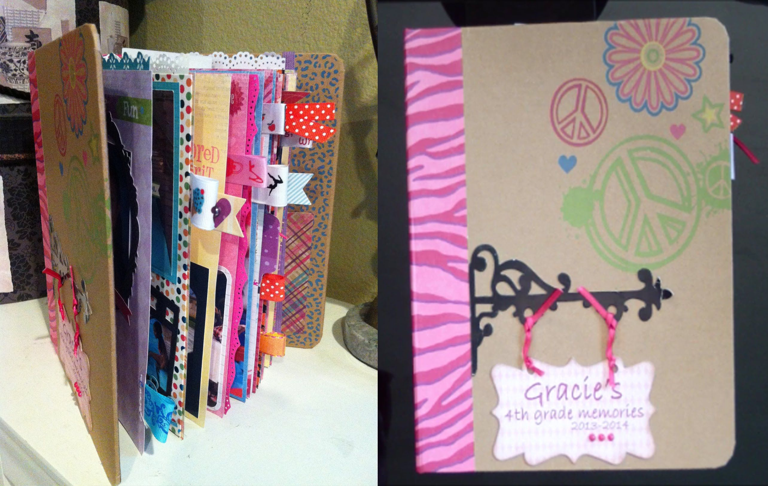 How to make a school mini scrapbook album Gracie's 4th