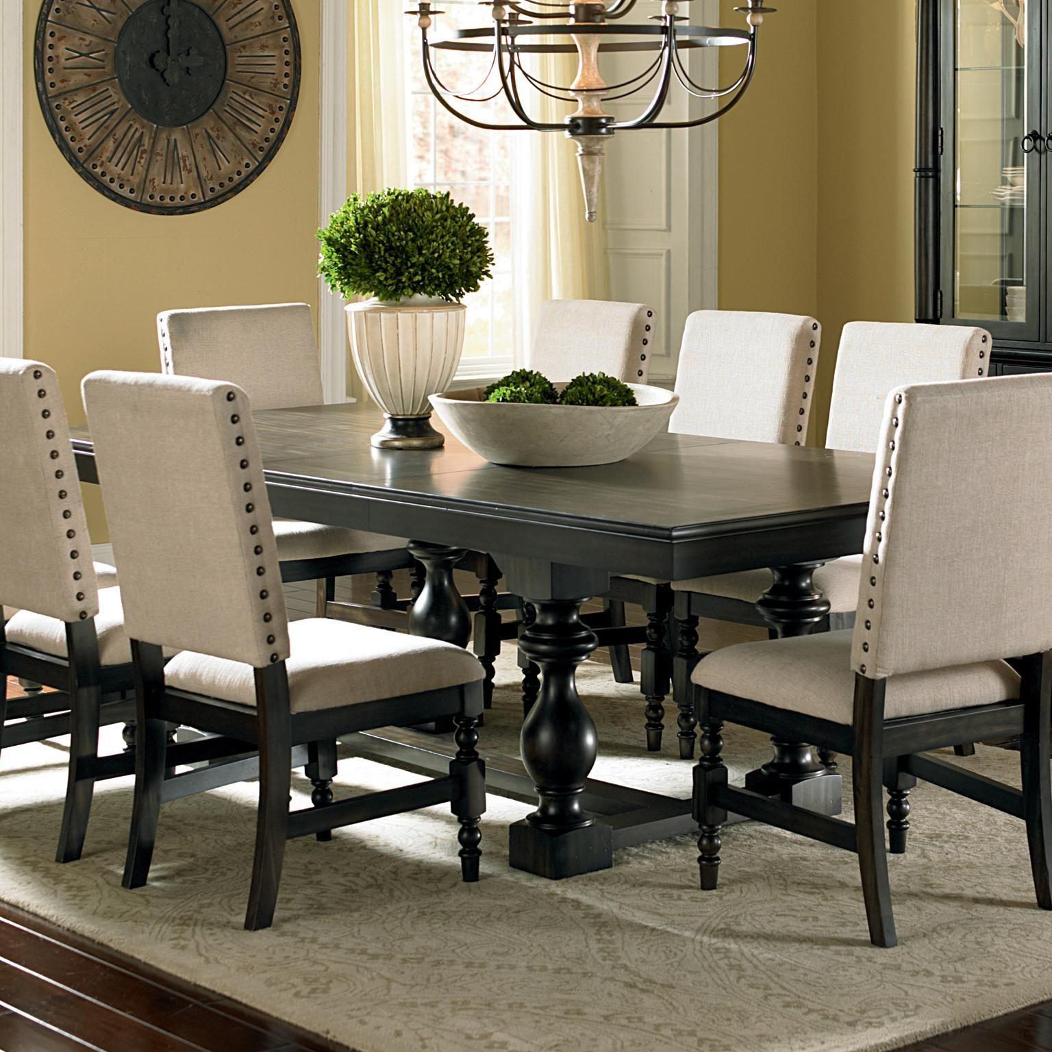 Black Dining Room Table And Chairs: Leona Cottage Rectangular Antique Black Dining Table With