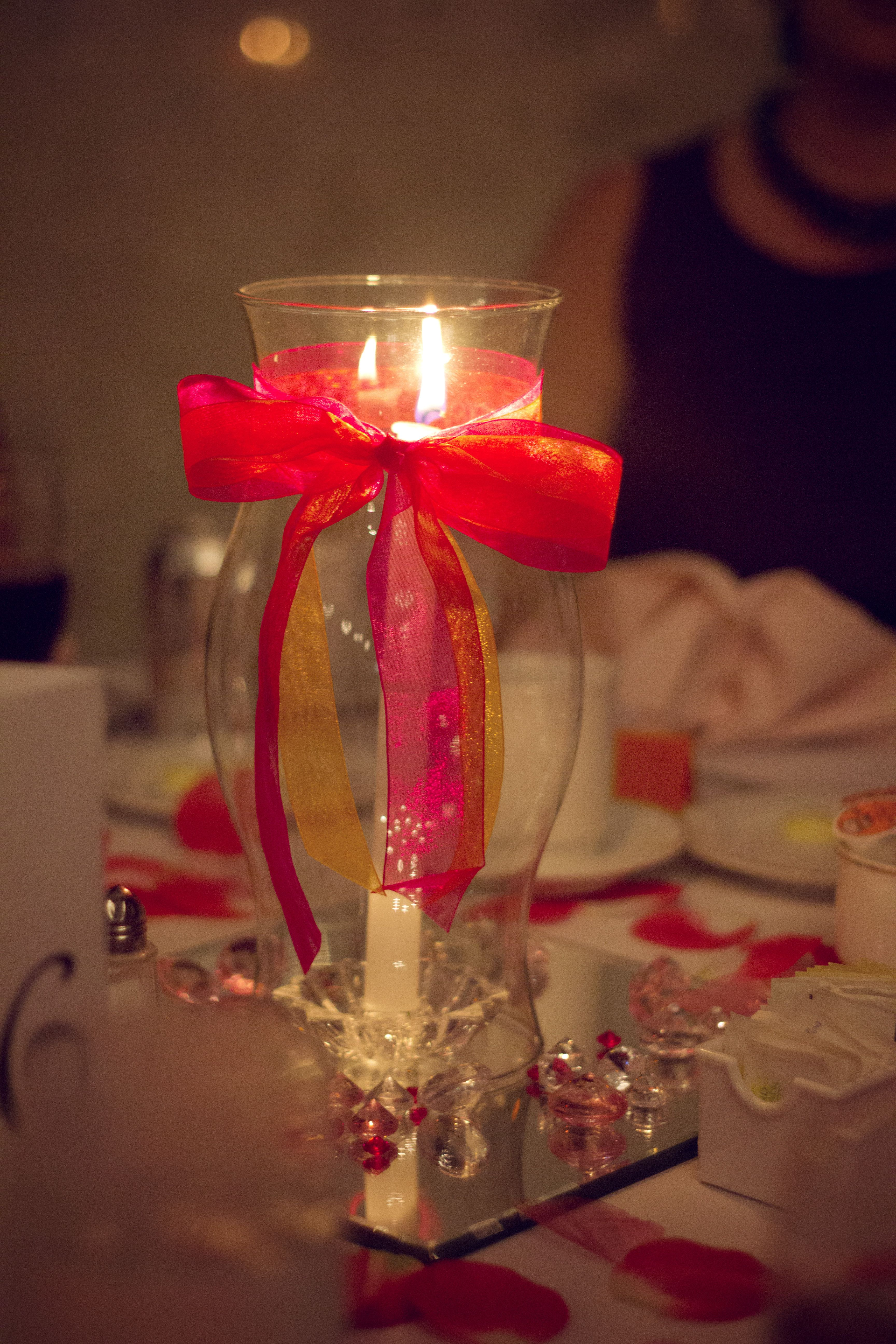 Table Centerpiece Mirror Jewels Candle Hurricane Globe Ribbons The Mirror Candle And Gl Hurricane Centerpiece Hurricane Lamp Centerpieces Centerpieces