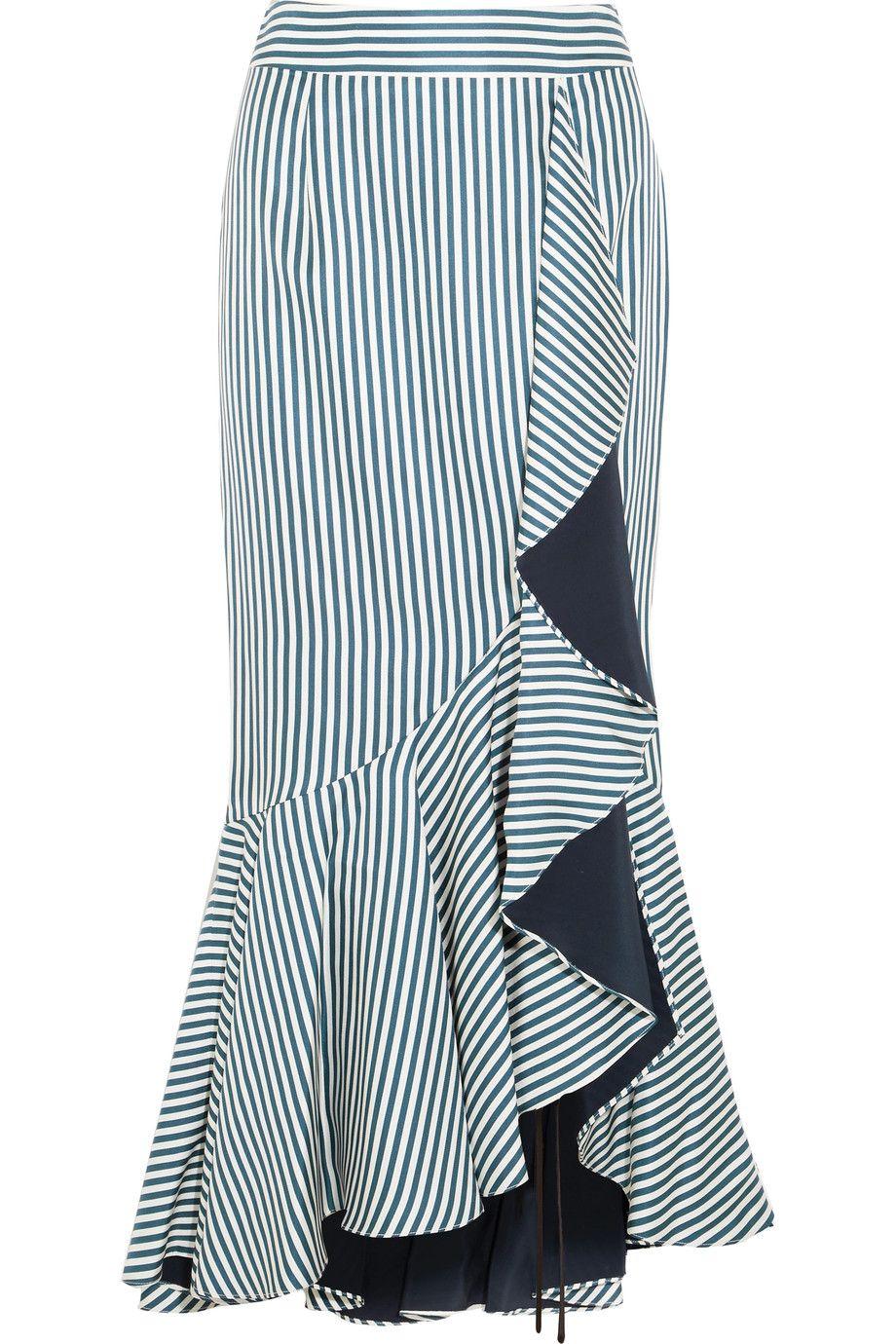 Hellessy - Daffodil ruffled striped silk-satin twill maxi skirt
