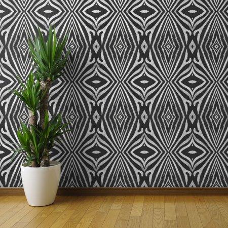 Peel And Stick Removable Wallpaper Zebra Fur Pattern Black White Safari Modern Walmart Com Zebra Wallpaper Wallpaper Panels Removable Wallpaper