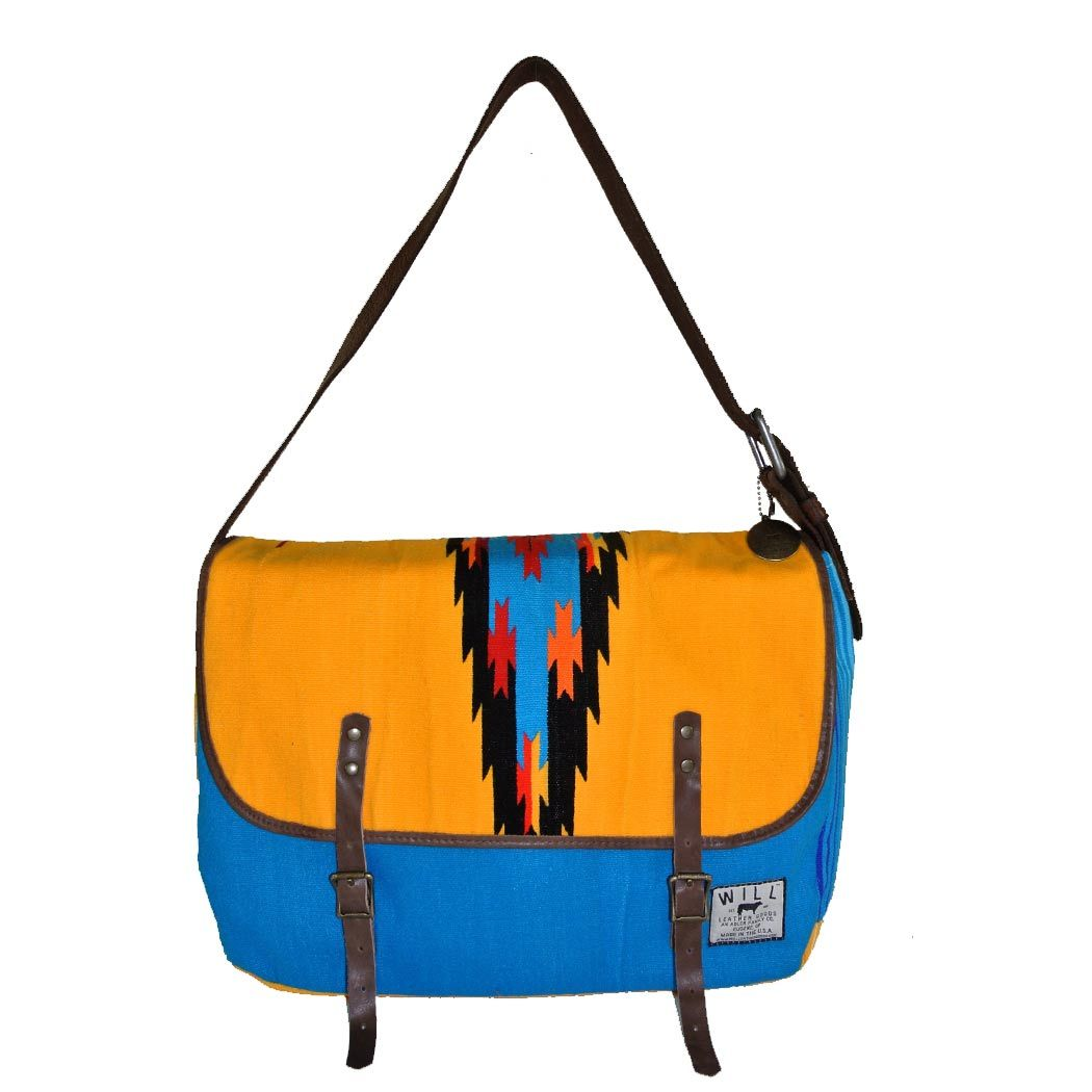 Will Leather Goods ACALAN MESSENGER in Yellow-Blue Found Vintage Mexican Blankets