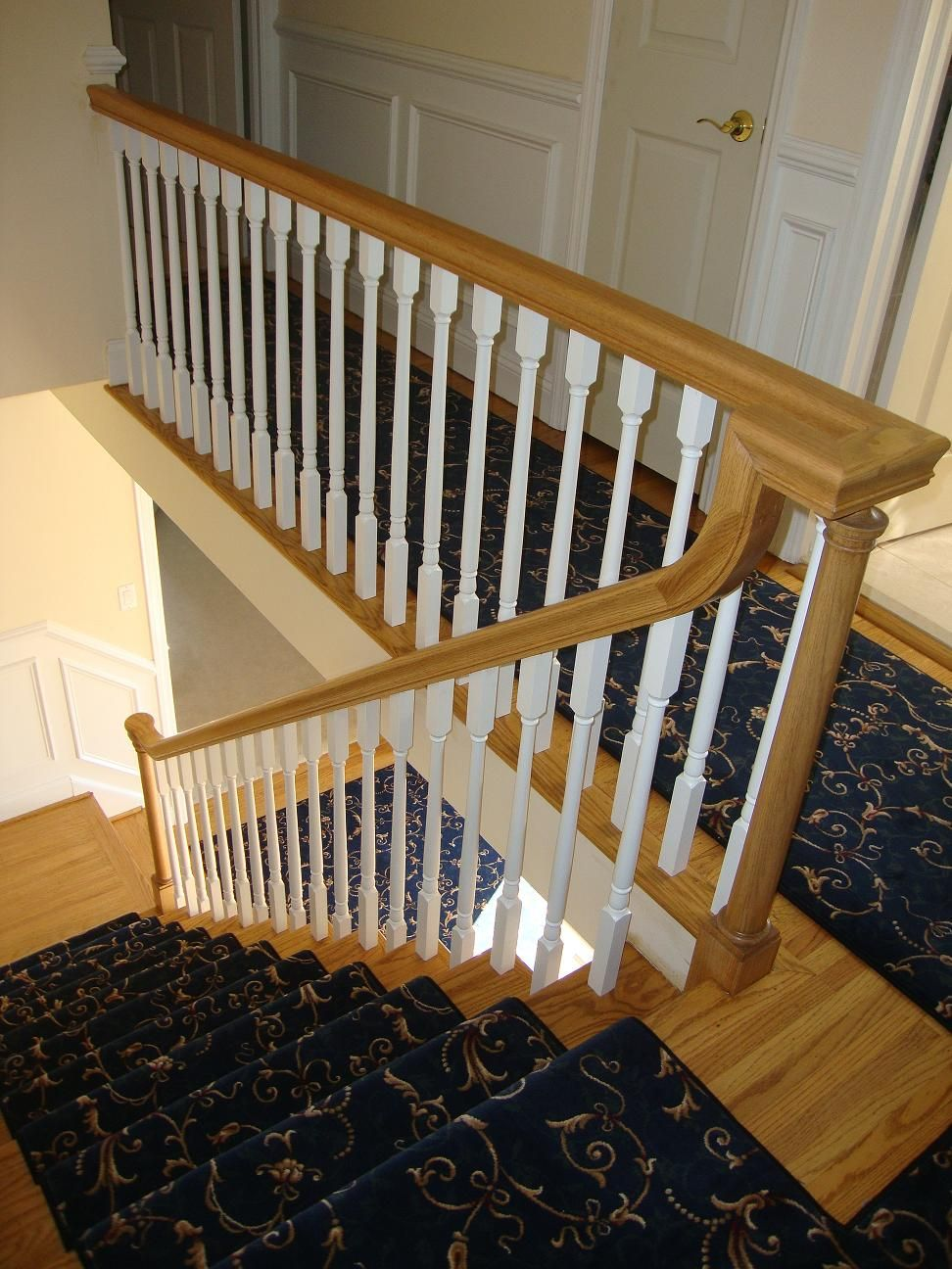 Interior stunning stairs with half turn staircase for Interior wood railing designs