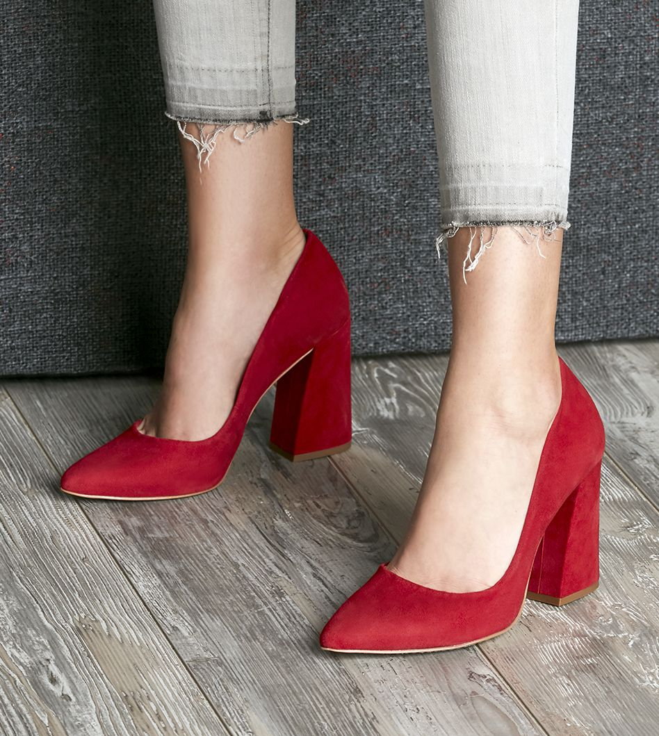 eed30515f3d8 Cherry red suede block heel pumps