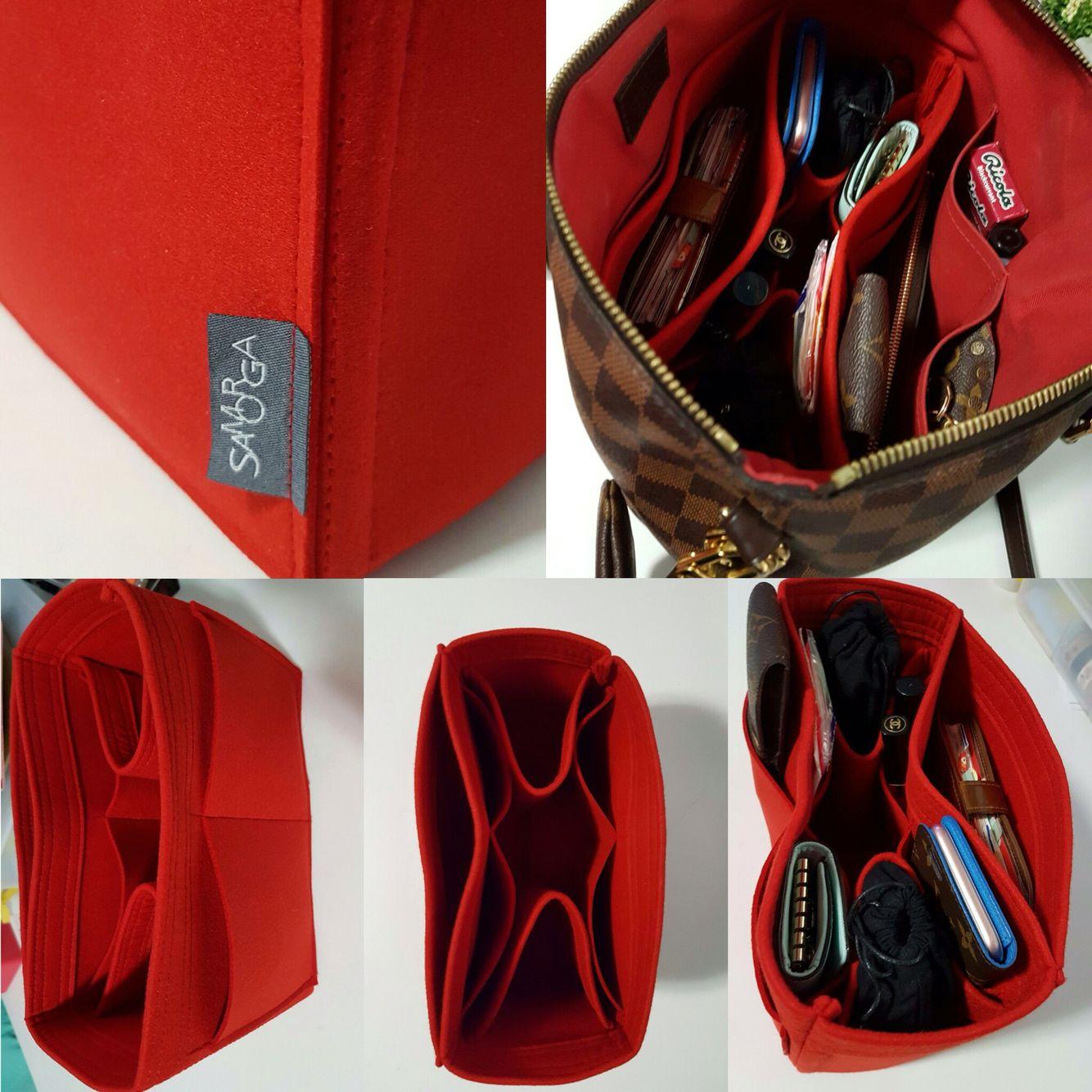 Samorga Felt Bag Organizer On Louis Vuitton Damier Ebene Sienna Mm