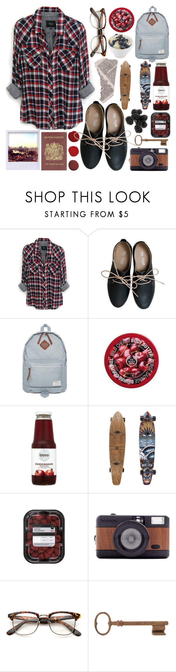 """I'm not excited, but should I be?"" by ftrees ❤ liked on Polyvore featuring Rails, Miz Mooz, Duffer Of St George, The Body Shop, Polaroid, Passport, Lomography and Jayson Home"