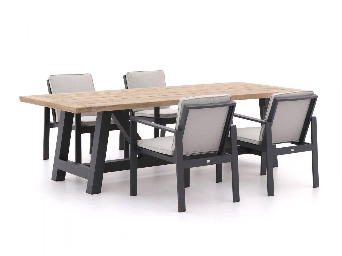 Exceptional Gartenmöbel Set Aus Aluminium Kombiniert Mit Einer Tischplatte Aus Teakholz