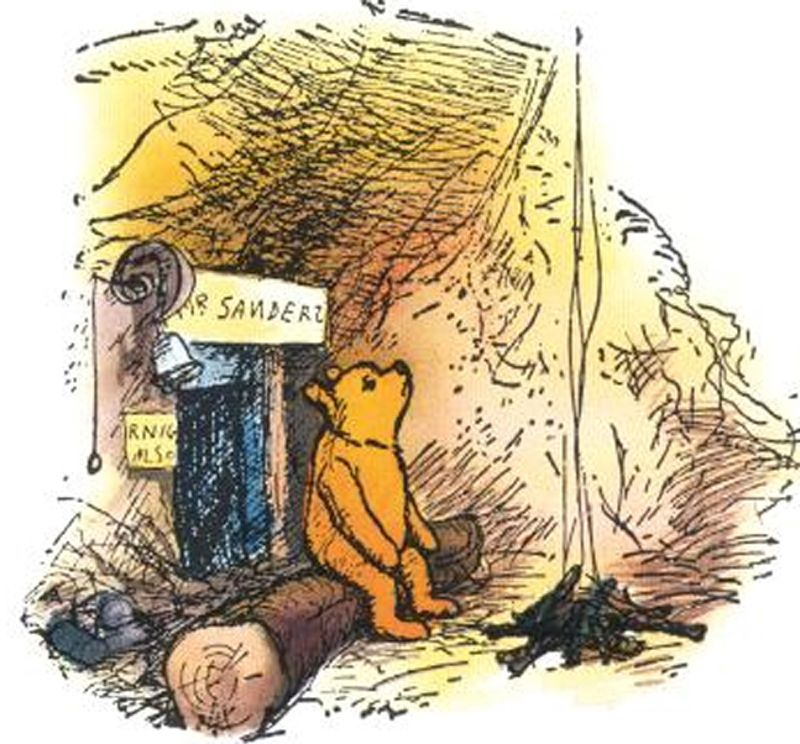 """...Winnie-the-Pooh lived in a forest all by himself under the name of Sanders. """"What does 'under the name' mean?"""" asked Christopher Robin. """"It means he had the name over the door in gold letters, and lived under it..."""""""