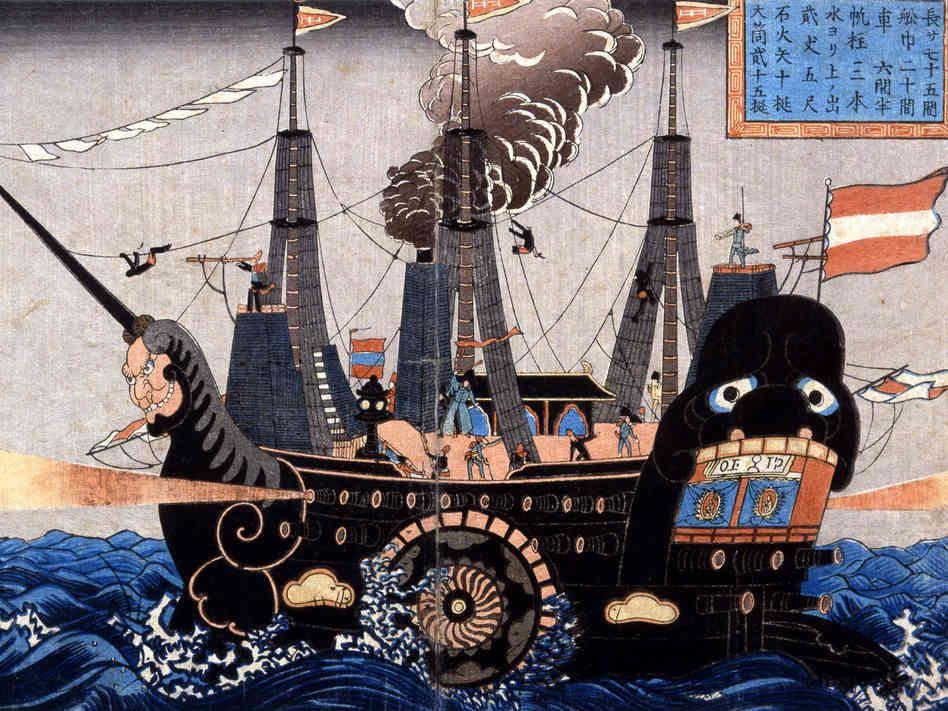 Matthew Perry's Black Ships   Japanese woodcut, Japanese ...