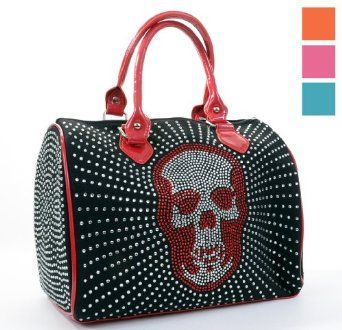 Amazon.com: All Over Rhinestone Sparkle Skull Handbag Purse Orange: Clothing