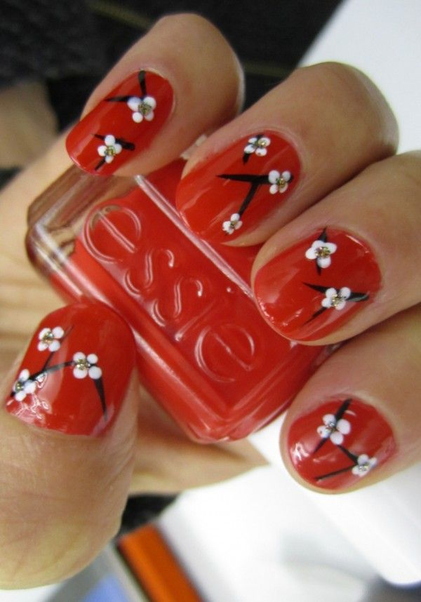 Flowers New Year Nail Art, 2015 New Year Nails, Red Nail Design ...