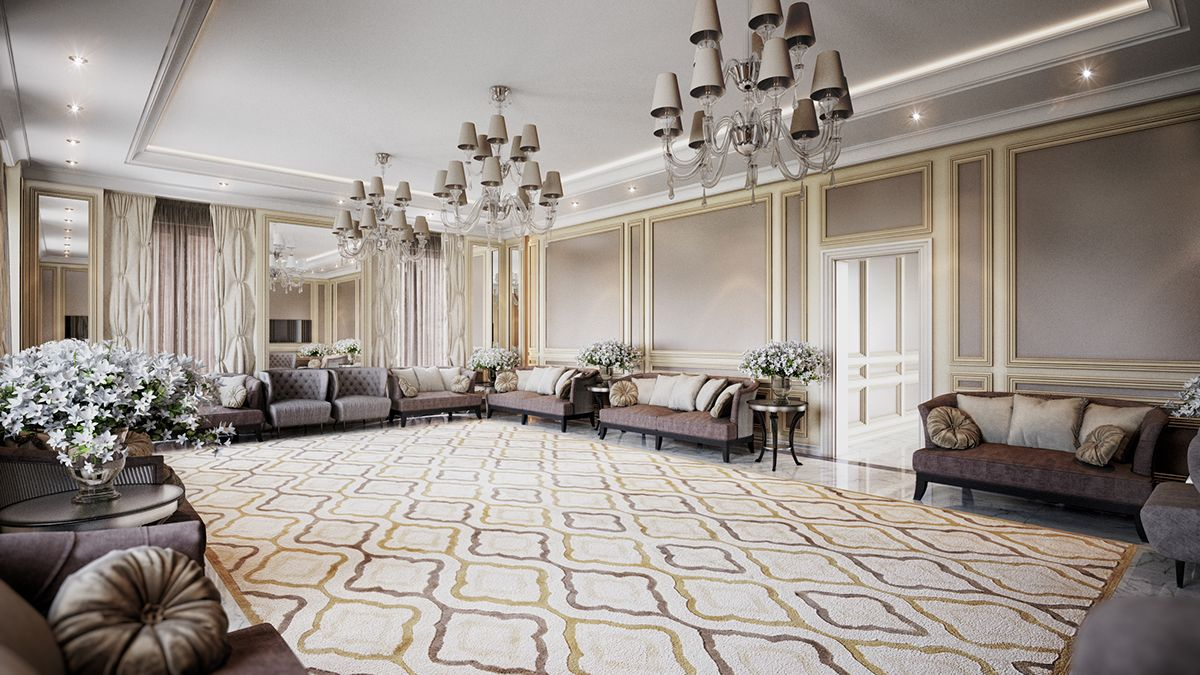 NeoClassical Style Majlis Design Entrance Area DesignElegant Colours And Light Accessories