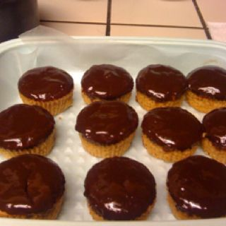 Peanut Butter cupcakes with chocolate glaze