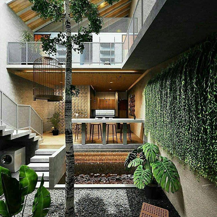 Dekor Rumah Desain Rumah Di Instagram Rumah Di Lahan 6x20m Dengan Konsep Suasana Alam Yang Super Cozy Ada Denah Ny Di 2020 Home Fashion House Arsitektur Rumah
