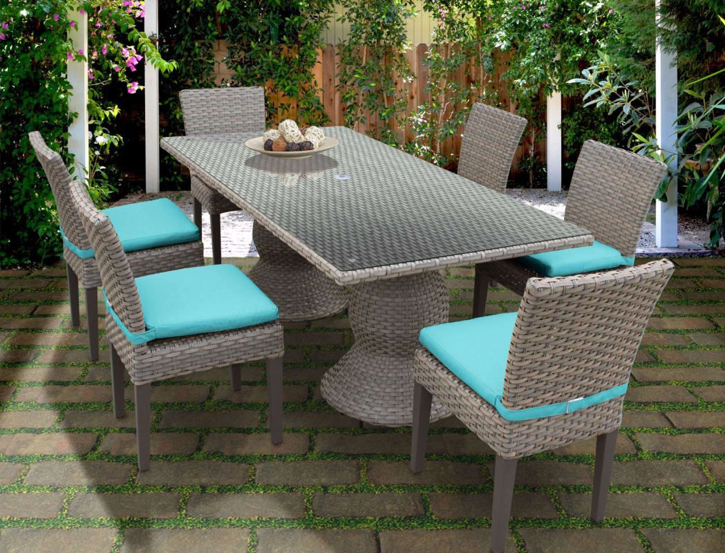 Miseno Oasis Rectangle Kit 6c Aruba Haven 7 Piece Aluminum Framed Outdoor Dining Set With Gl Table Top