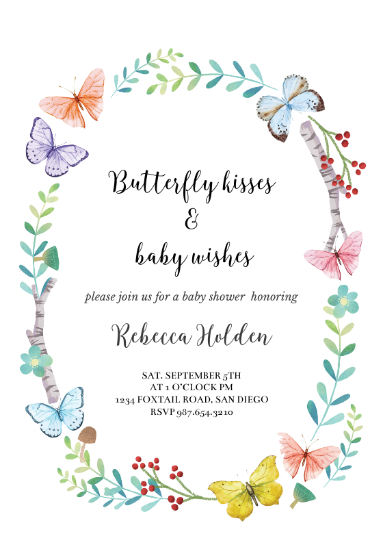 Butterfly Kisses Baby Shower Invitation Template Free Greetings Island Butterfly Baby Shower Invitations Butterfly Birthday Invitations Butterfly Baby Shower