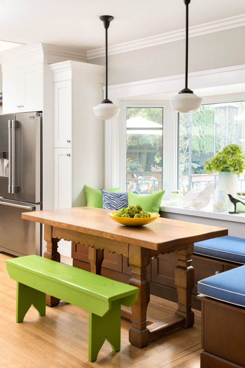 Kitchen Eating Area | Bench Seating | Pendant Lighting | Decorating With  Blue U0026 Green |