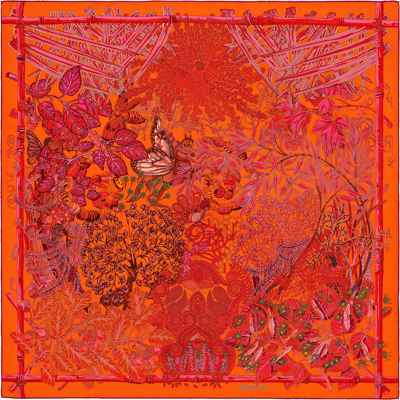 Mythes et Métamorphoses | Silk twill scarf, hand-rolled (90 cm x 90 cm) | Ref. : H002814S 09