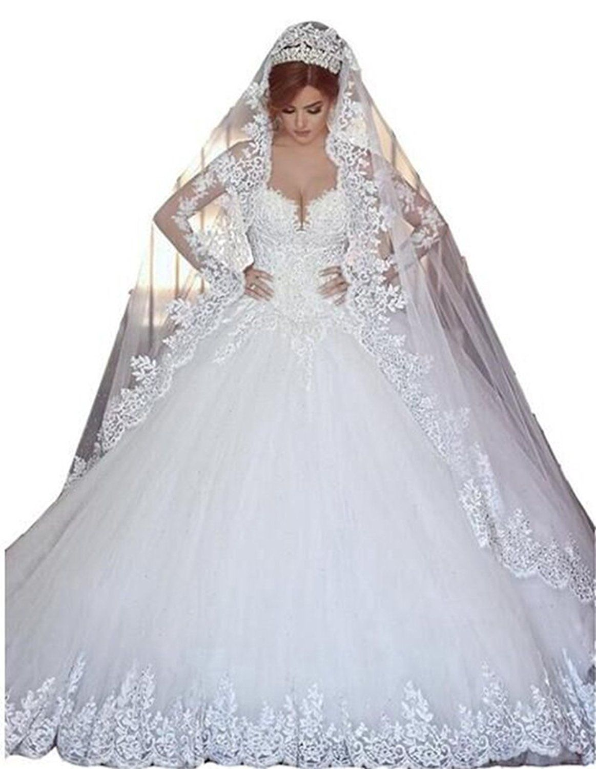 Long veil wedding dresses  Angela Womenus Lace Long Sleeves Ball Gown Tulle Wedding Dress With