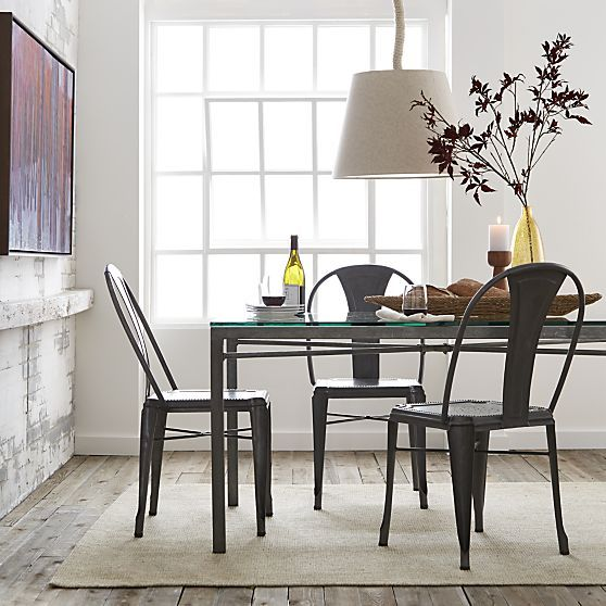 Lyle Metal Dining Chair Crate And Barrel Metal Dining Chairs Dining Chairs Stainless Steel Dining Table