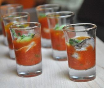 Oyster Shooters with Tomato, Lime, and Chilies
