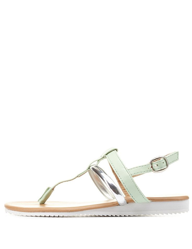 Mint Metallic T-Strap Thong Sandals by Charlotte Russe
