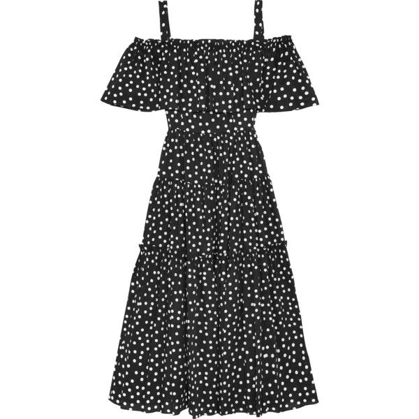 Dolce & Gabbana Off-the-shoulder polka-dot cotton-blend dress (154.665 RUB) ❤ liked on Polyvore featuring dresses, black, mid calf dresses, flounce dress, off the shoulder midi dress, polka dot dress and off-the-shoulder ruffle dresses