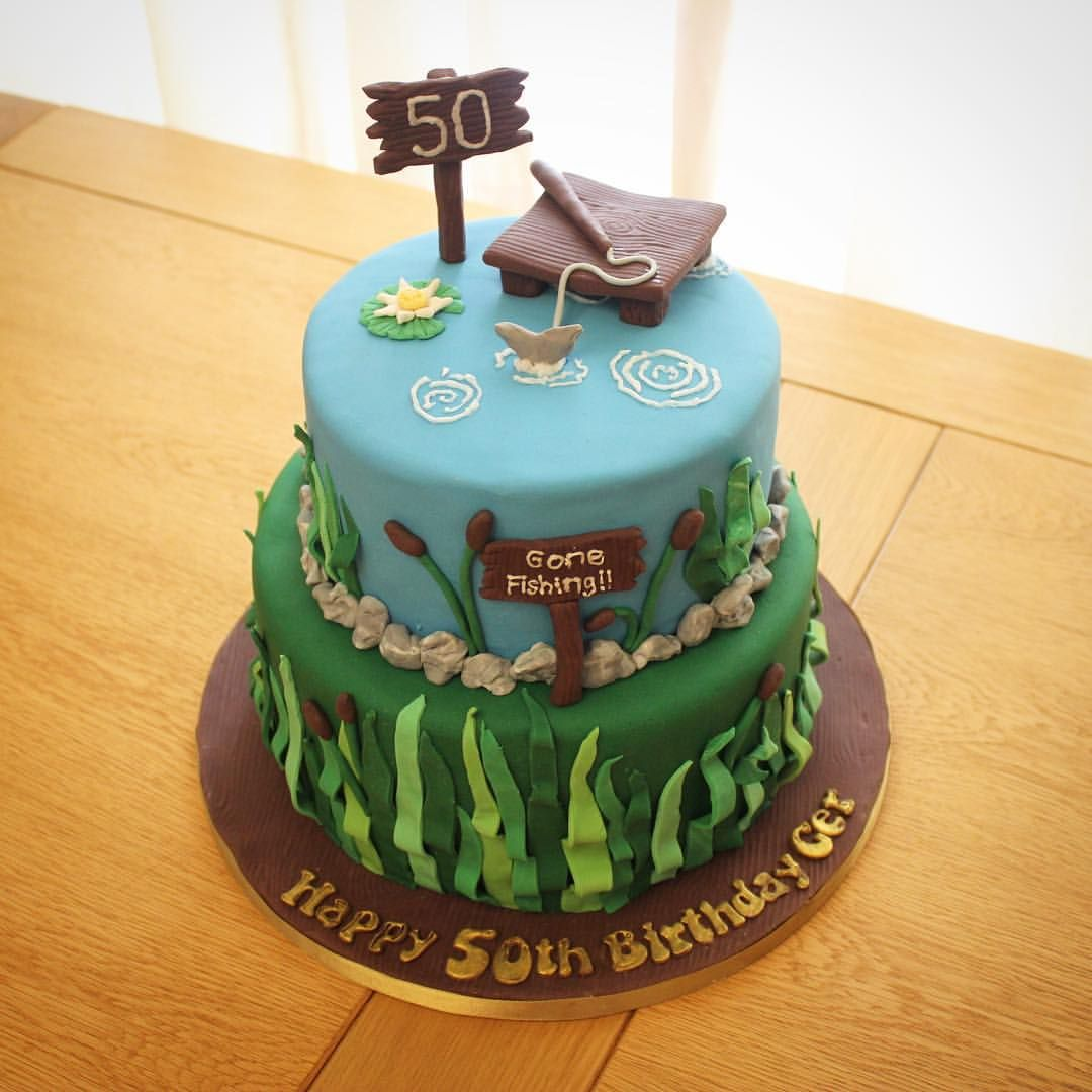 Gone fishing 50th birthday cake little miss muffin for Gone fishing cake