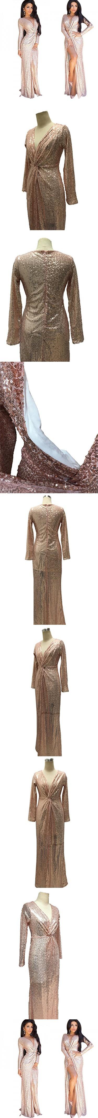 Moxeay women rose gold sequined vneck longsleeved high sliting