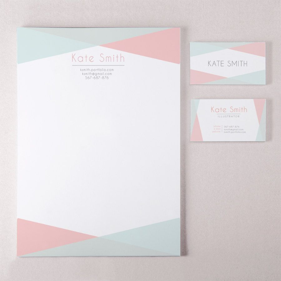 Geometric business card template and letterhead design custom ...