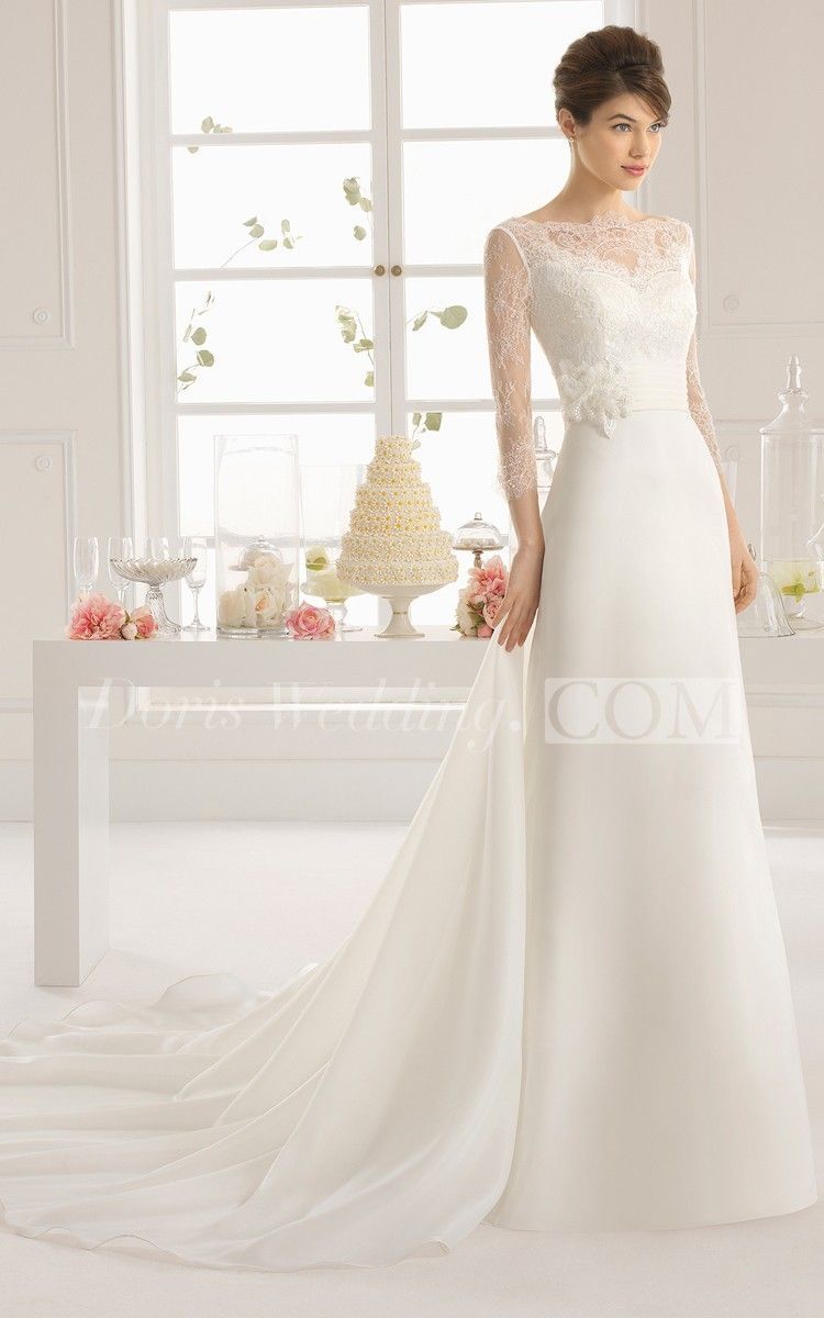 Sexy aline long dress with illusion back and long sleeves lace