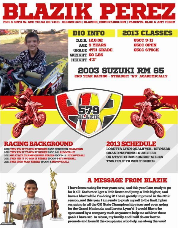 6e989fb627e6f313c1ea78cdf6c30315 Jpg 600 767 Sponsorship Motocross Resume Template