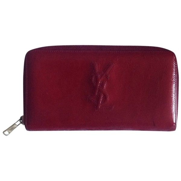 Pre-owned Belle De Jour Continental Wallet In Patent Red (€155) ❤ liked on Polyvore featuring bags, wallets, accessories, none, red patent leather bag, purple bag, red bag, pre owned bags and yves saint laurent wallet