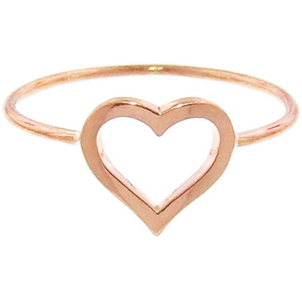 Jennifer Meyer Open Heart Ring Rose Gold found on Polyvore