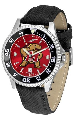University of Maryland Terps Leather Watch Suntime AnoChrome Logo Timepiece