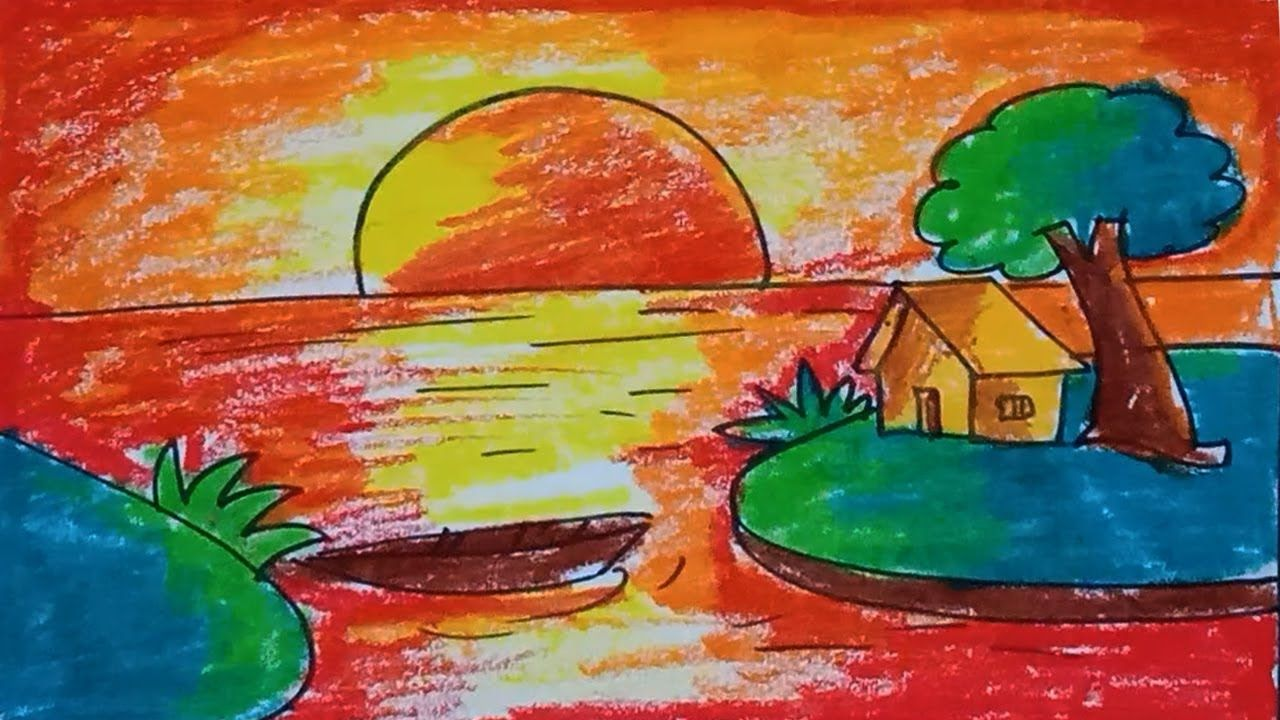 Easy Scenery For Kids Sunset Scenery Step Bu Step With Oil