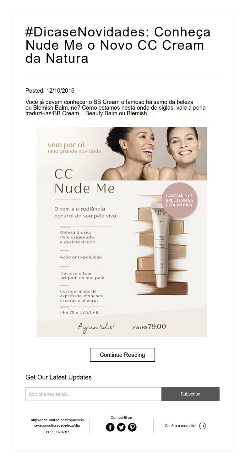 DicaseNovidades: Conheça Nude Me o Novo CC Cream da Natura | Dicas e ...