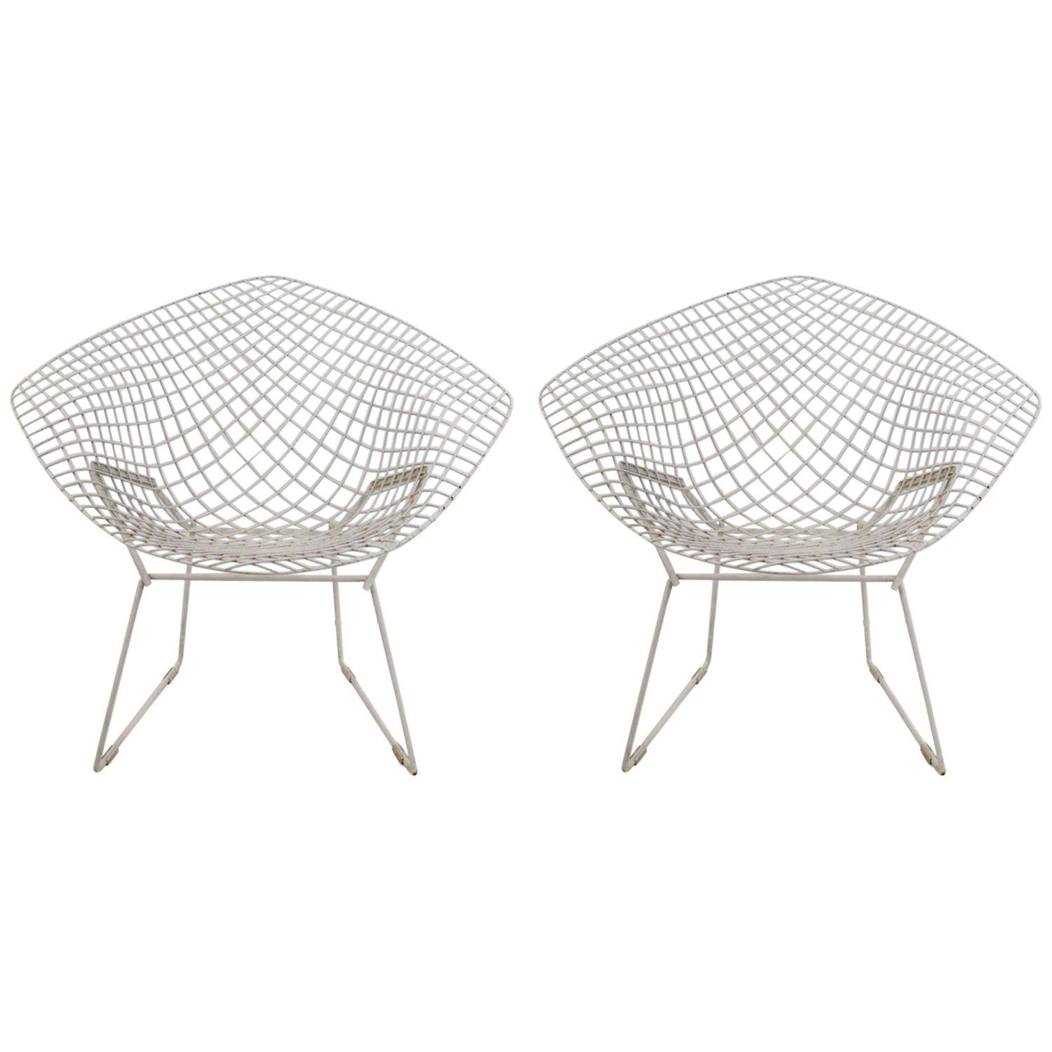 Pair Of Bertoia Diamond Chairs With Images Bertoia Diamond Chair Bertoia Chair