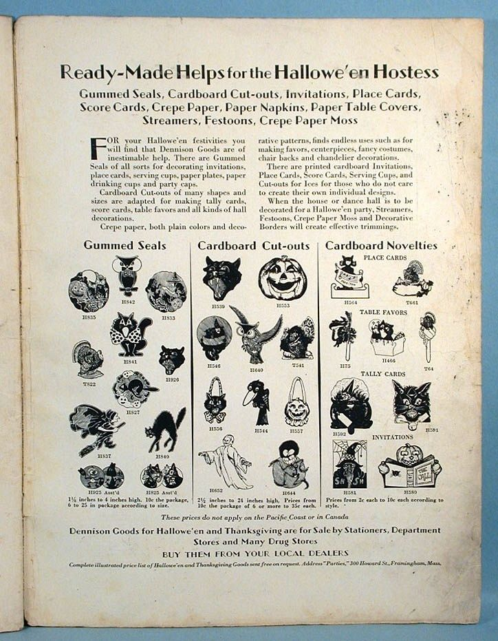 1929 Dennison Parties Magazine Halloween Catalog Decorations - halloween catalog
