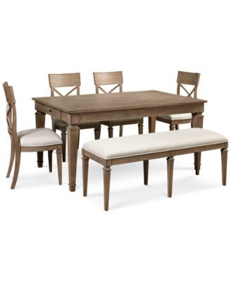 Winston 6 Piece Dining Set Dining Table 4 Side Chairs & Bench Prepossessing Macys Dining Room Chairs Decorating Design