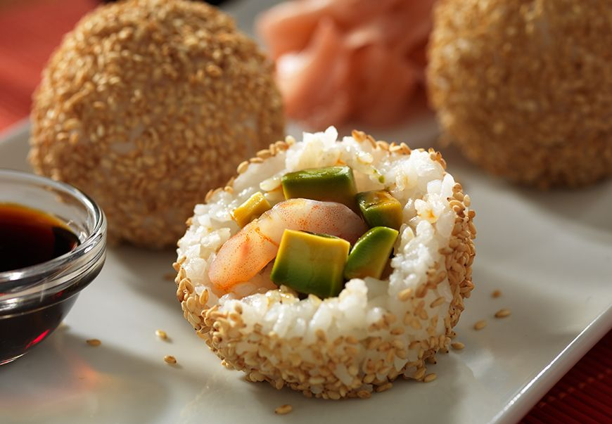 For an easy appetizer or snack try Fresh California Avocado rolled in seasoned sushi rice and sesame seeds.