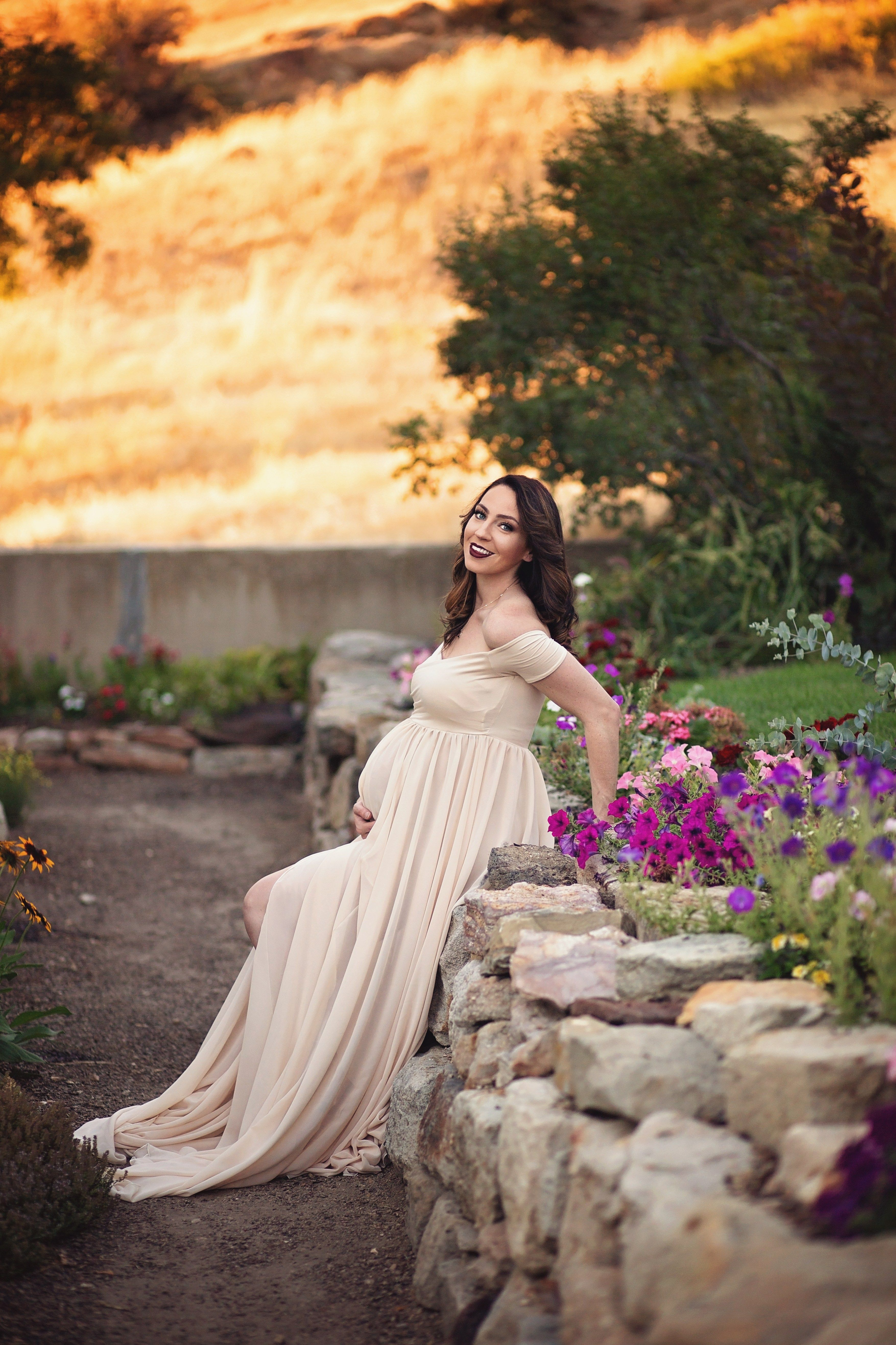 3a4471c3ccfd8 maternity photoshoot spring fall autumn flowers sew trendy pregnancy gown  Talk about feeling like a beautiful