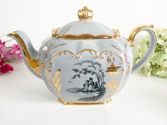 English Teapot Light Grey Teapot Sadler Cube Teapot James Sadler Light Grey Cube Teapot Vintage Teapot Tea Party Teapot