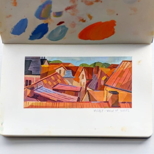 Painting of our view from our Airbnb I'm Visby,... - Susan Yung