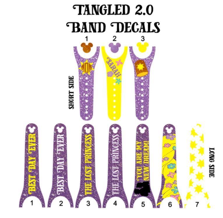 IMPROVED Magic Band Decals Tangled Rapunzel Eugene - Magic band vinyl decals
