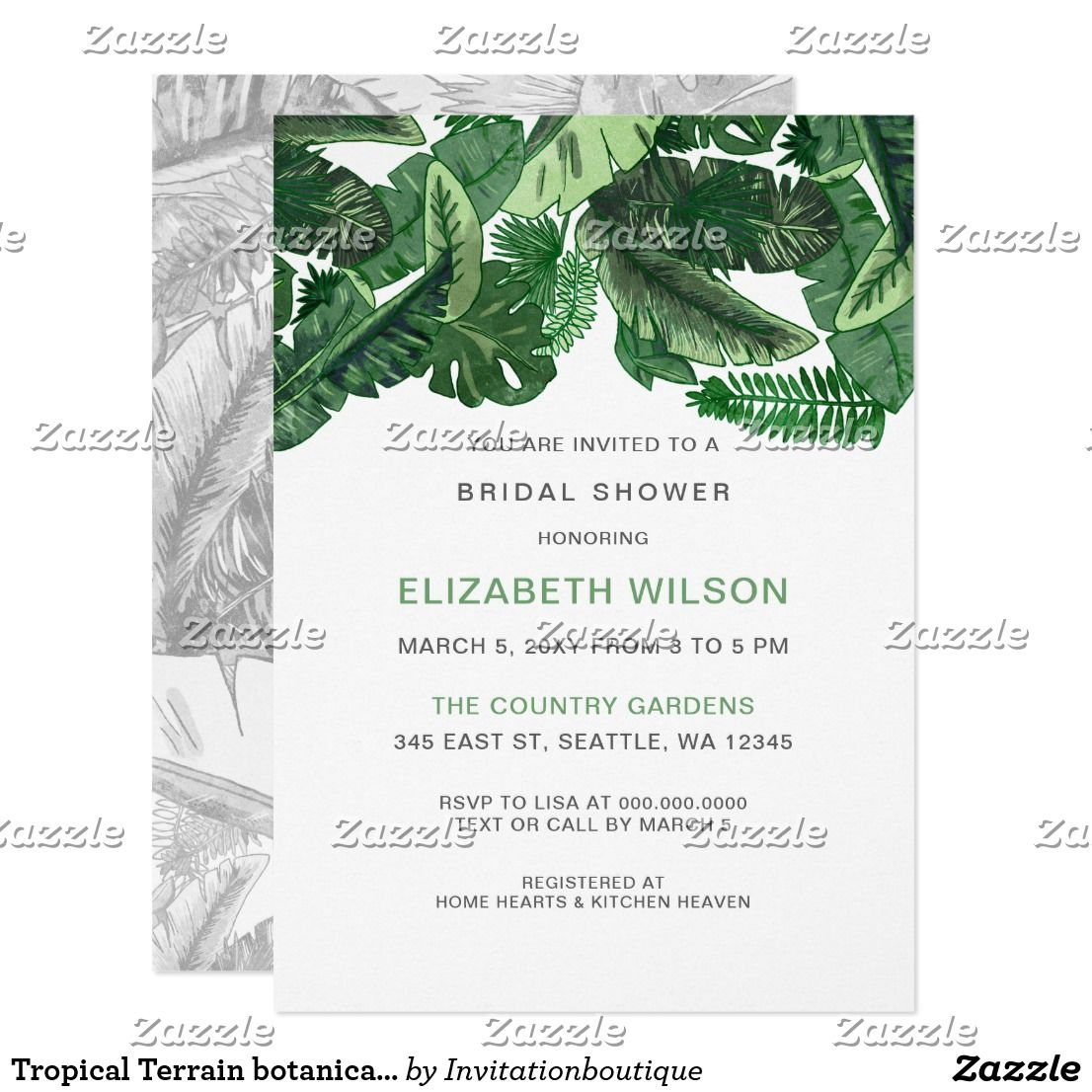 Wedding decorations traditional october 2018 Tropical Terrain botanical Bridal Shower Invitation in   Bridal