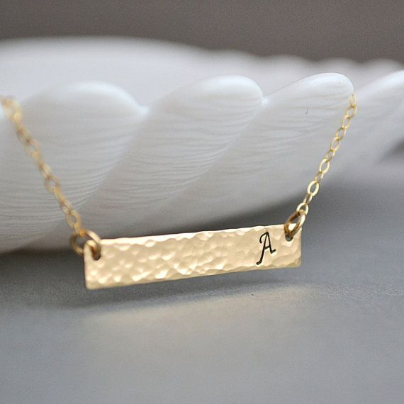 bar necklace hammered name necklace hammered jewelry personalized