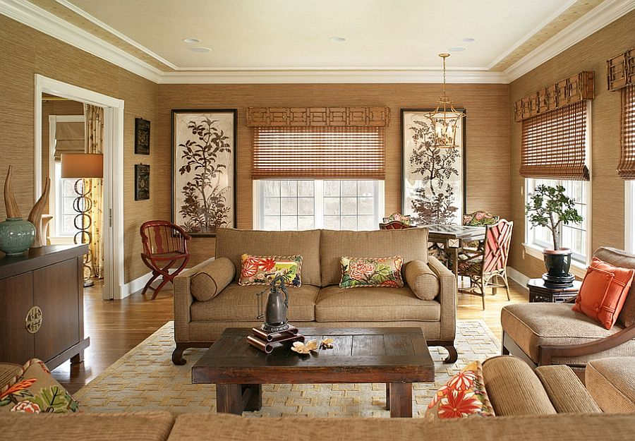 20 Living Rooms With The Textural Beauty Of Grasscloth Asian Living Rooms Tan Living Room Neutral Living Room