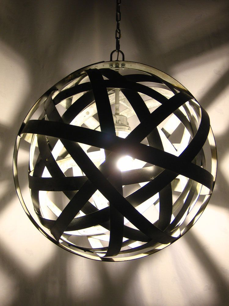 Orbits, urban chandelier, recycled wine barrel metal hoops